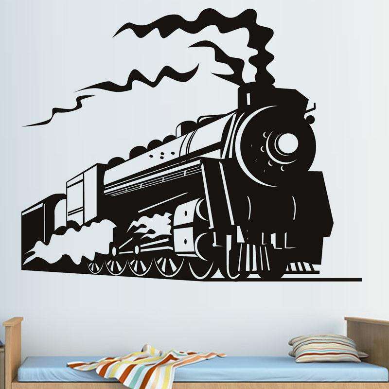 steam train wall stickers for living room children kids room bedroom