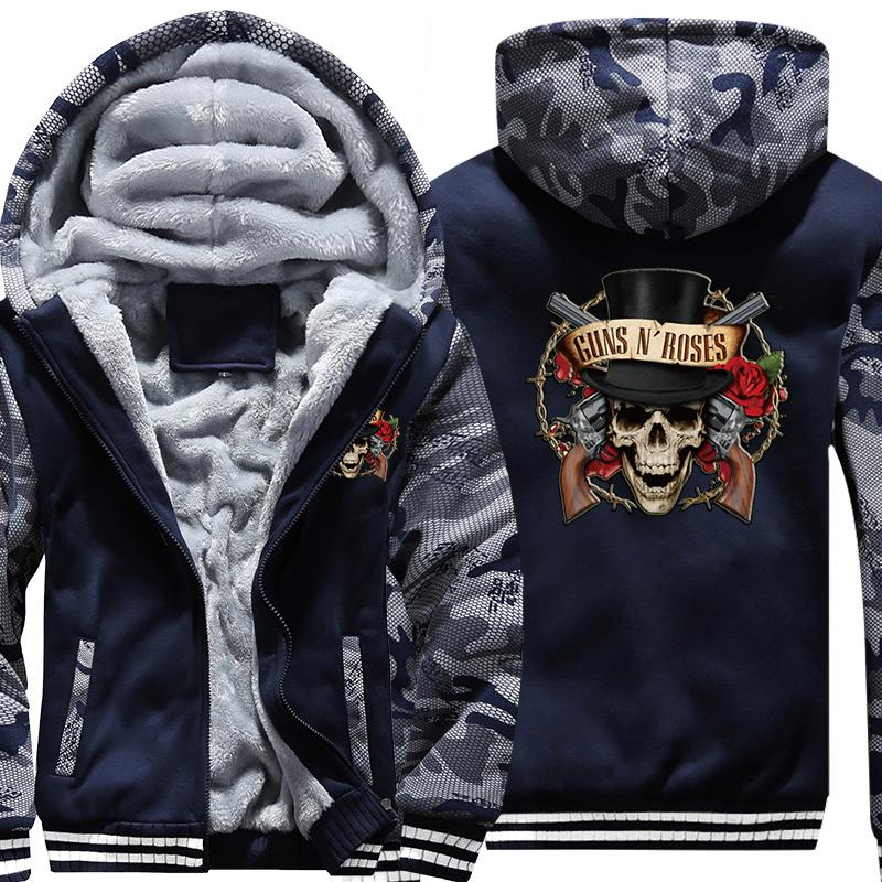 916b18c050 Fashion Men's Guns N' Roses Hoodies Sweatshirts Super Warm Thicken Fleece  Camouflage Men Jackets Zipper Hooded Coats Clothes