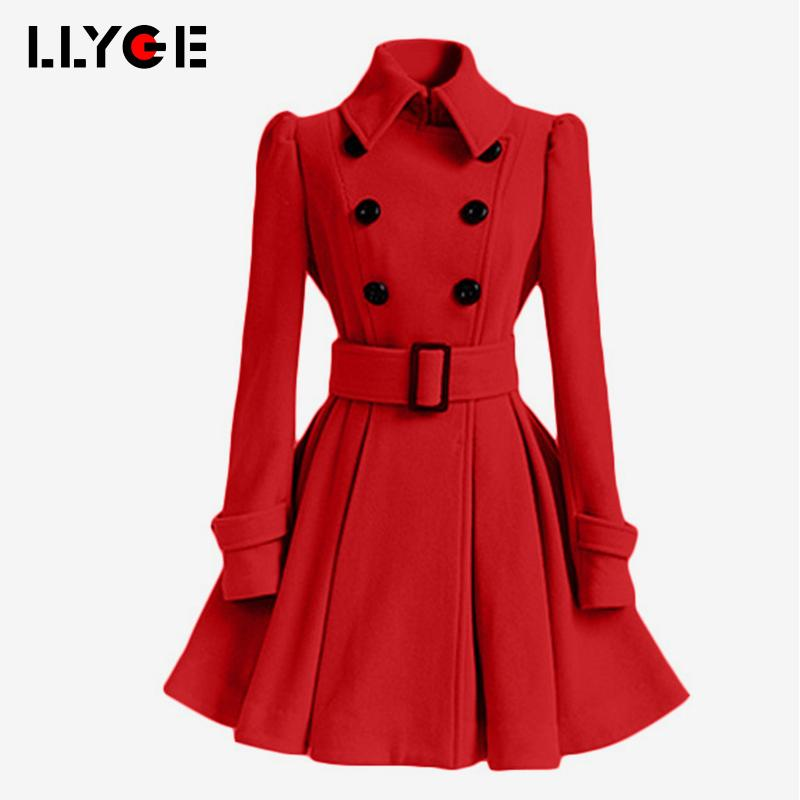 0f997b793e78 2019 LLYGE Women Autumn Winter Warm Woolen Coats 2018 Slim Double Breasted  Sashes Fashion Wool Jackets Female Chic Skirts Overcoats From Candice98, ...