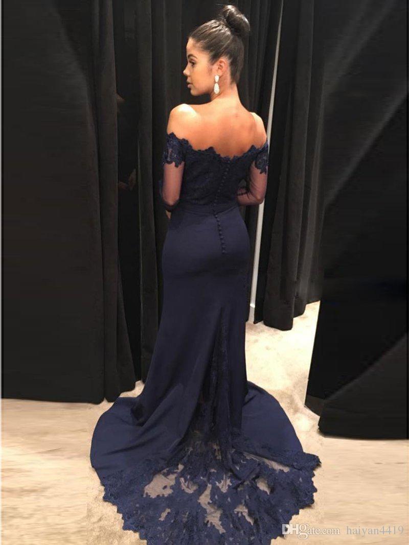 2020 Sexy bleu marine sirène robes de bal Encolure de la dentelle Sheer bouton satin manches longues Retour balayage train Party Robes de soirée