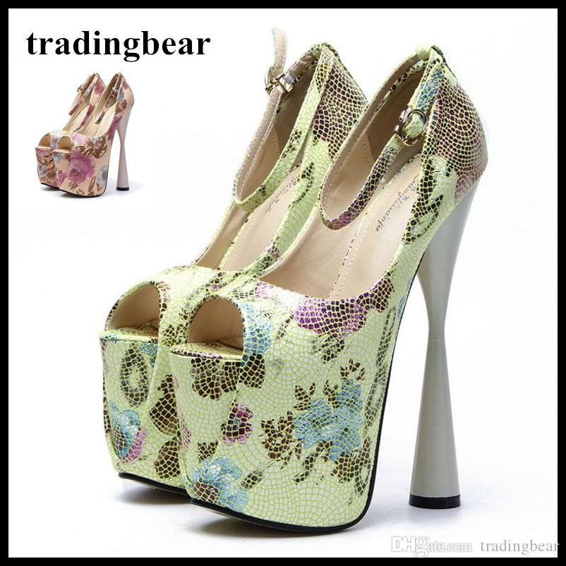 1ed3e4b24e8 Green Floral Printed Ankle Strap High Heels Pumps 19cm Sexy Lady Party Wedding  Shoes Plus Size 34 To 40 41 42 43 Shoes Women High Heels Luxury Shoes ...