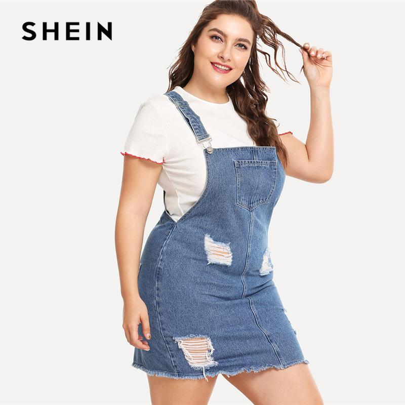 59885e1378 20187 SHEIN Raw Hem Distressed Denim Overall Dress 2018 Summer Straps  Sleeveless Ripped Clothing Women Plus Size Casual Denim Dress Long Women  Dresses ...