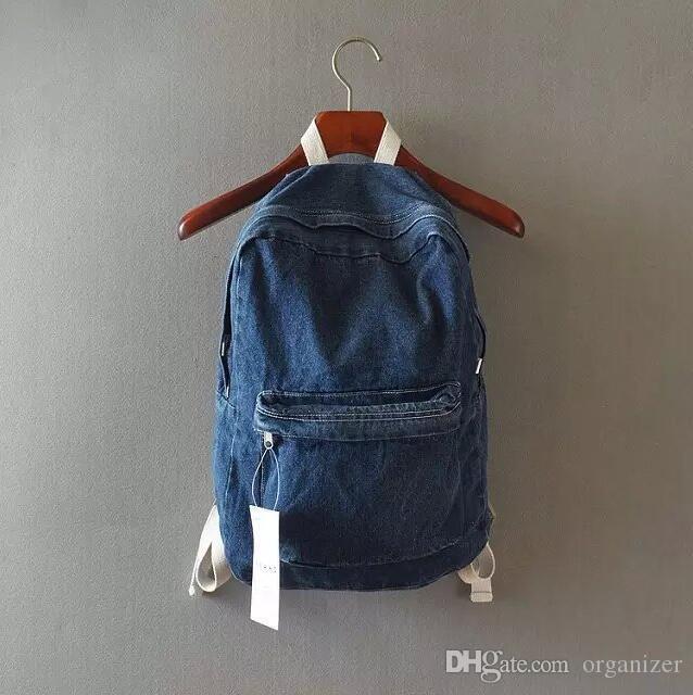 Unisex Vintage Washed Denim Jean Rucksack Shoulder School Bag Boys Girl Travel Matching Backpack