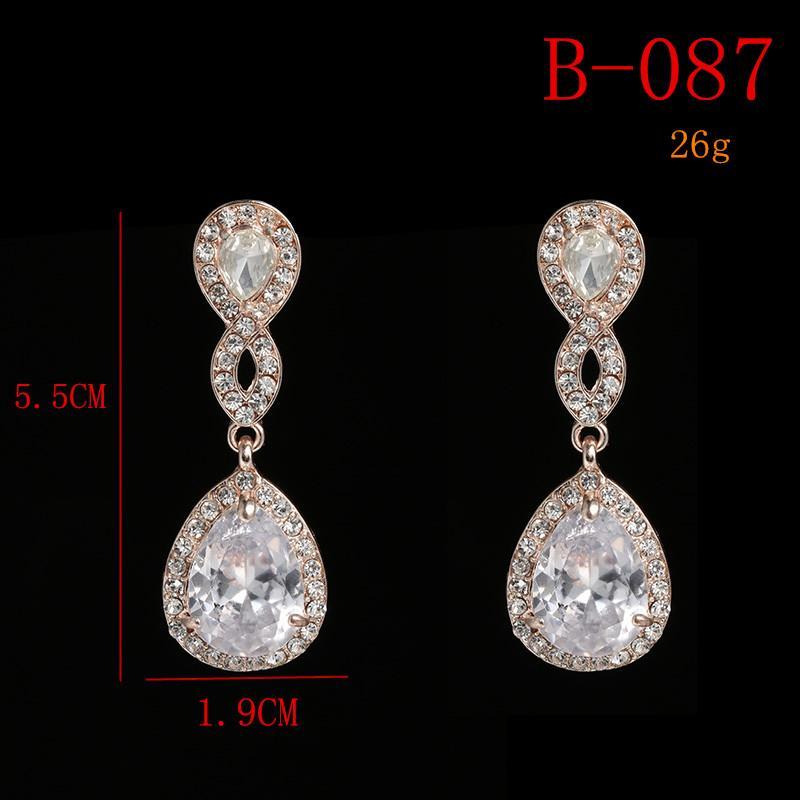 2019 Arrings Bridal SLBRIDAL Rose Gold Austrian Rhinestones Wedding Earring  Bridal Cubic Zirconia Crystal Drop CZ Earring Bridesmaids Women Fa. 831d5a93b626