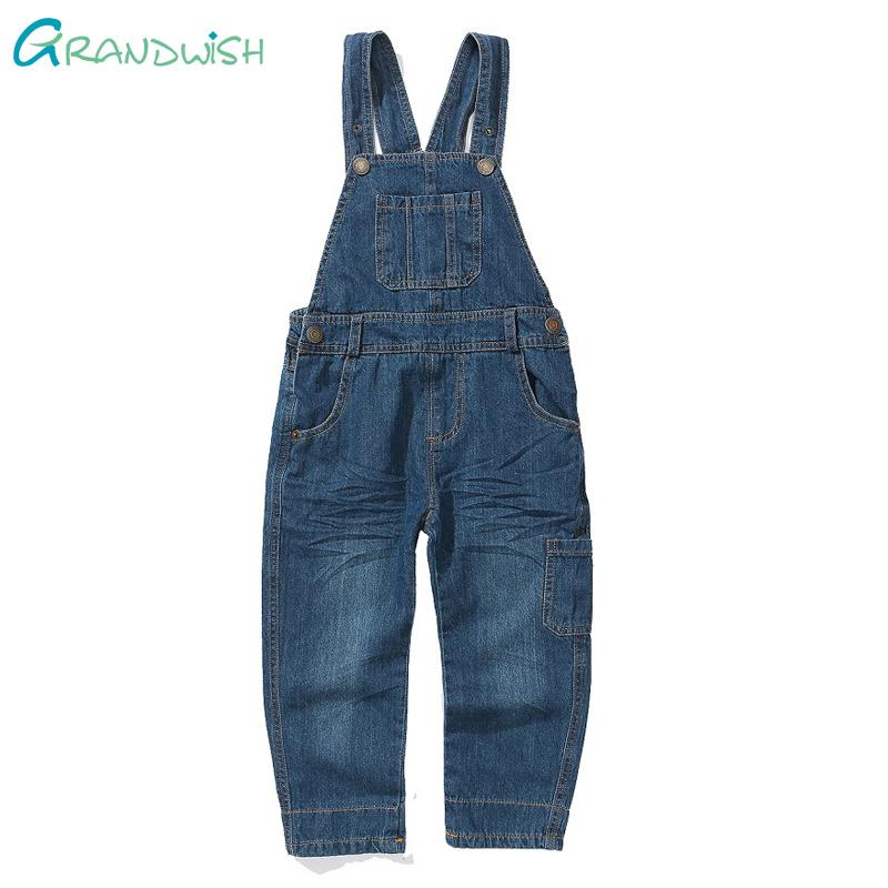 Grandwish Boys Denim Overalls Spring Dungarees for Toddler Girls Children Casual Jeans Pants Jumpsuit for Boys 18M-10T, SC357