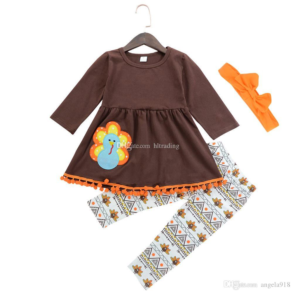 Thanksgiving Baby girls outfits children Turkey Print dress top+pants with headband 3pcs/set 2018 Spring Autumn kids Clothing Sets C4857