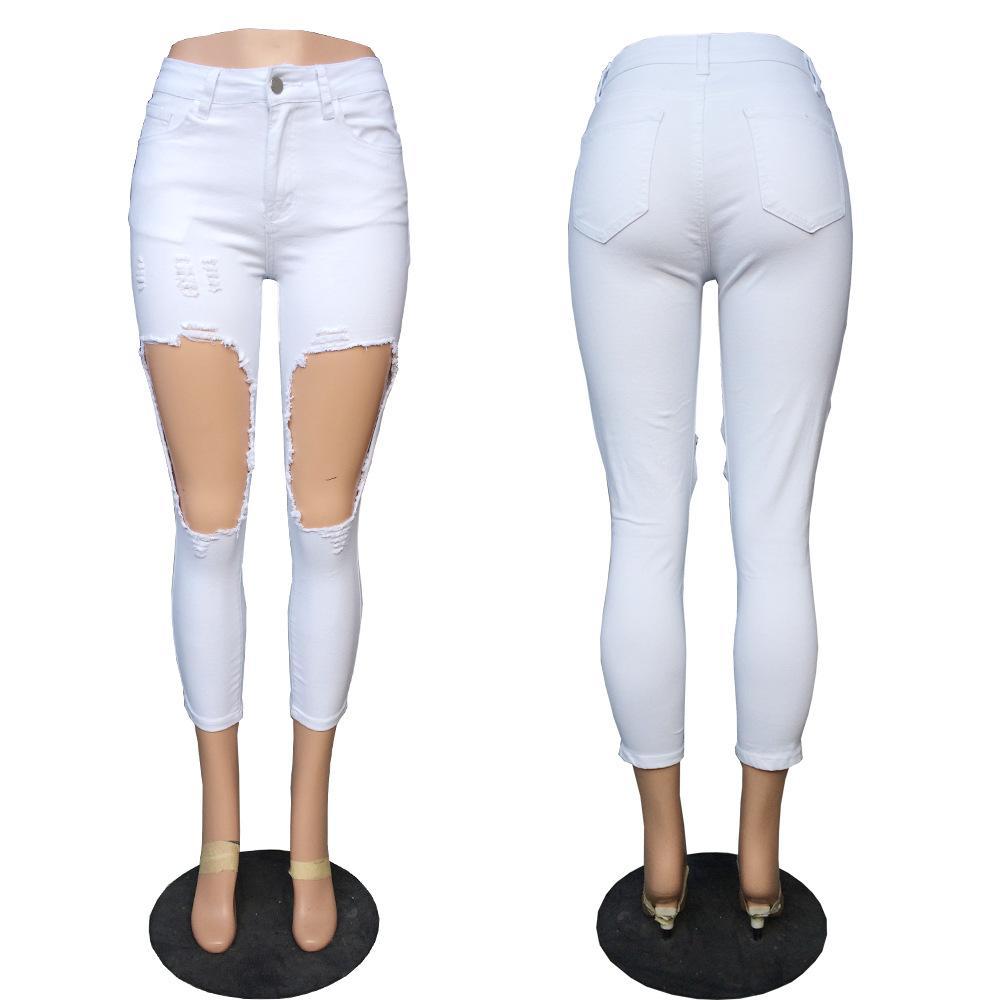 Acquista 2018 Fashion Big Knee Hold Women Skinny Jeans Estate Leggero Slim  Fit Bianco Capris Denim Donna Pantaloni 223 A  26.14 Dal Amazingweilai  3e5c3669468