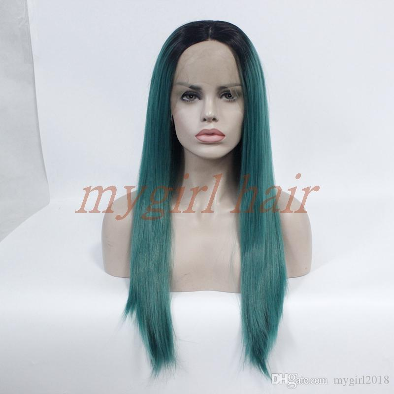 New Fashion Silky Straight Wigs 2 Tones With Baby Hair Black To Green Color  Heat Resistant Synthetic Lace Front Wig For Black Women Best Synthetic Wigs  ... cd3ab7904a