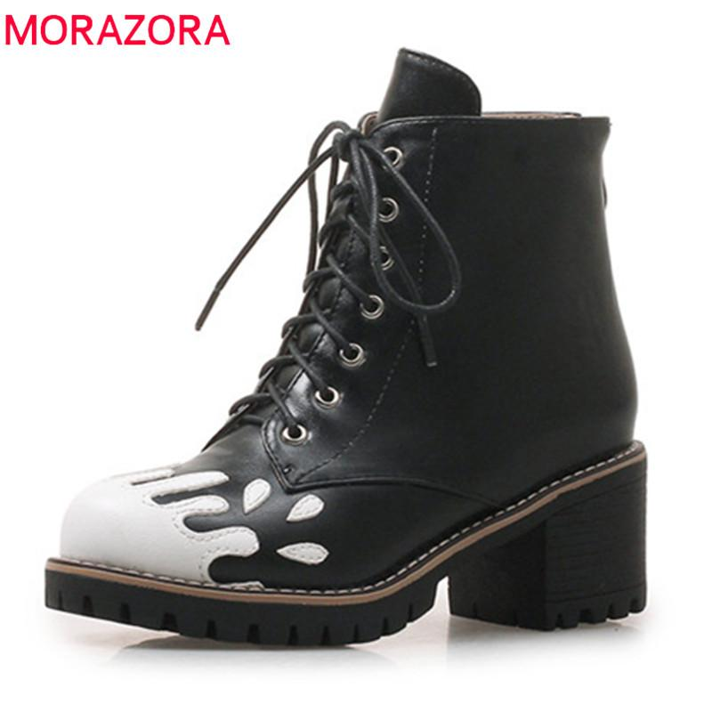 ec9752eb1ab9 MORAZORA 2018 Fashion Hot Sale New Ankle Boots Women Mixed Colors Autumn  Winter Boots Lace Up Platform Shoes Ladies High Heel Shoes Wedges Shoes  From ...