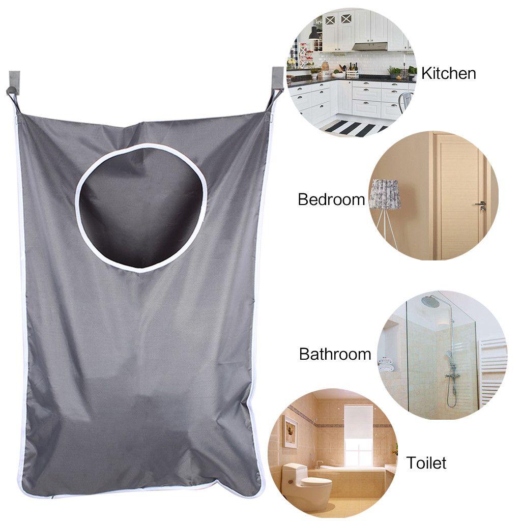 Laundry Nook Cesta para colgar la ropa con 2 piezas Ganchos de acero inoxidable y ventosas Dark Grey Space Saving