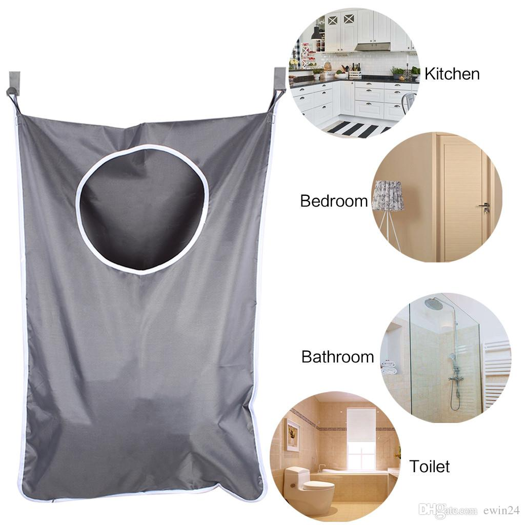 Laundry Nook Door-Hanging Laundry Hamper with Stainless Steel Hooks and Suction Cups Dark Gray Space Saving