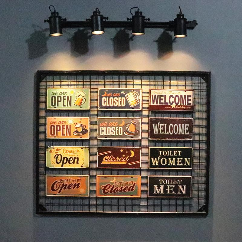 cce44ec2a70 2019 DL Vintage Signs Open Closed Welcome Tin Metal Painting Car License  Plate Wall Decor Poster Retro Plaque Sign Home Decor From Asite