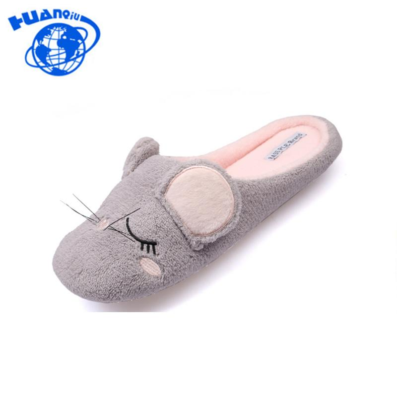 HUANQIU New Cute Animal Mouse Women Slippers Indoor Floor Cartoon ... 805436f4163b