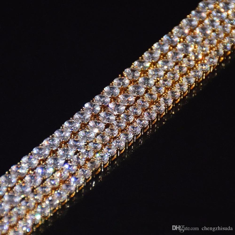 مثلج خارج الزركون الصليب قلادة مع 4MM تنس سلسلة قلادة مجموعة رجال الهيب هوب مجوهرات الذهب والفضة تشيكوسلوفاكيا قلادة قلادة مجموعة