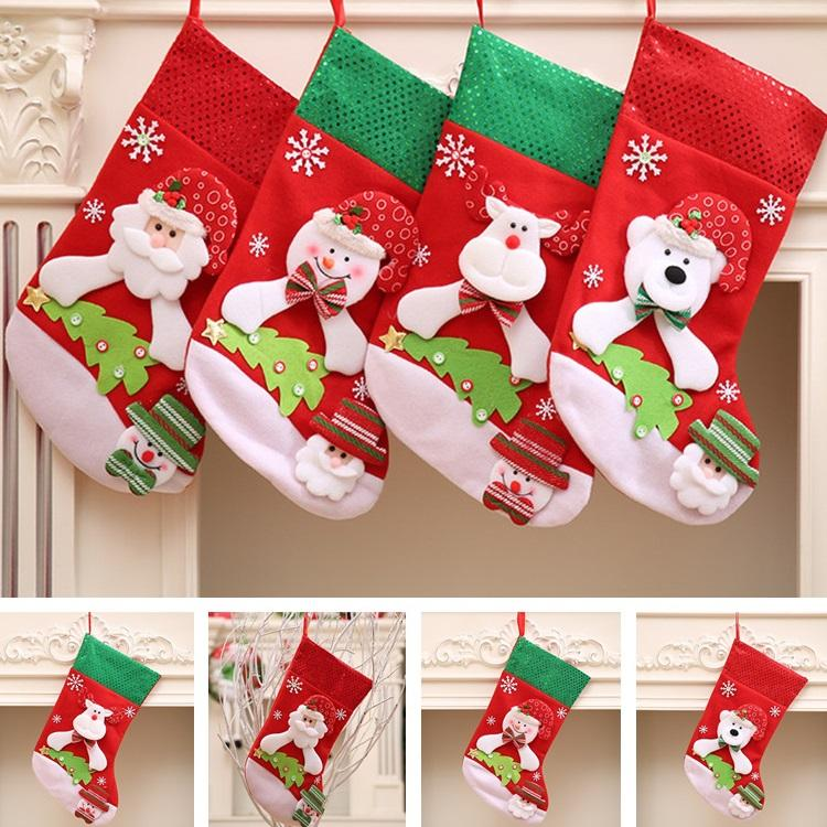 4 different styles of christmas decorations gifts bags stocking socks santa claus wholesale christmas stockings t6i033 christmas decoration christmas - Wholesale Christmas Stockings