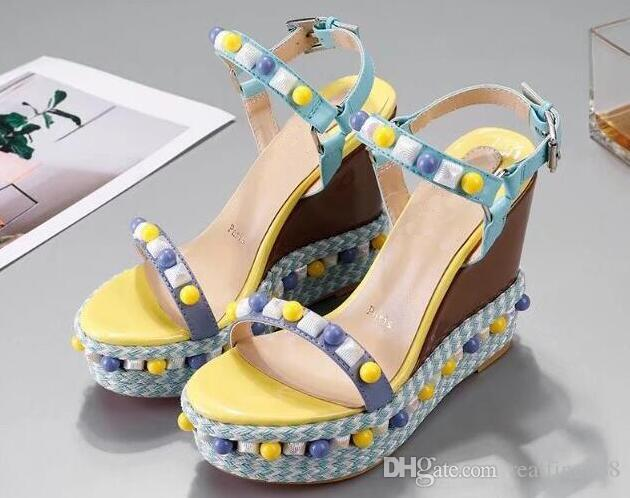 Women Pyraclou 11cm Wedges Sandals Shoes,striated pyramid studs,Women Slippers,Women Leather shoes,Size 35-40,
