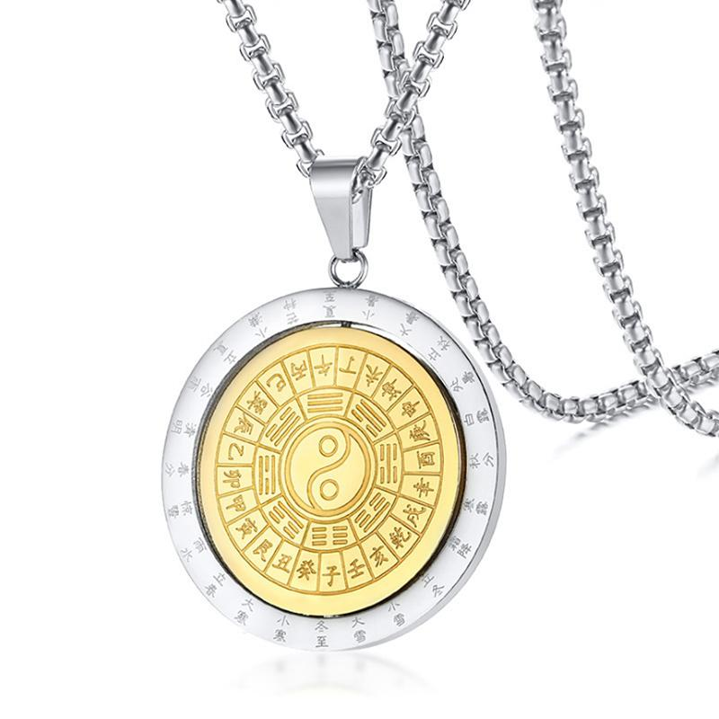 Rotatable Coin Pendant for Men Women Necklace Taoism Yinyang Bagua Jewlery Stainless Steel Divination Male Jewelry