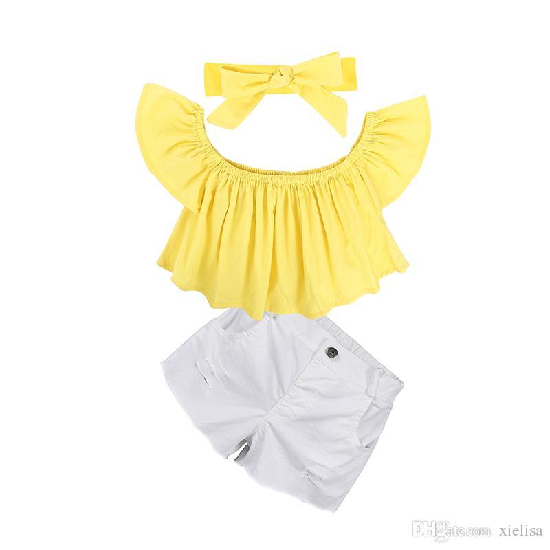 Giallo top bambini ragazze rosa T shirt set neonata spalle Pantaloncini fototecnica bambini copre gli insiemi vestiti della ragazza 1-6Y