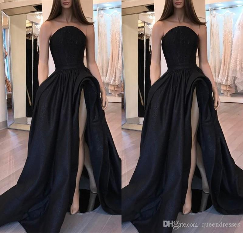 Sexy Black Long Evening Dresses A Line Strapless Sleeveless Satin Sweep Train Pick-up Ruffles Evening Gowns Women Special Occasion Dresses