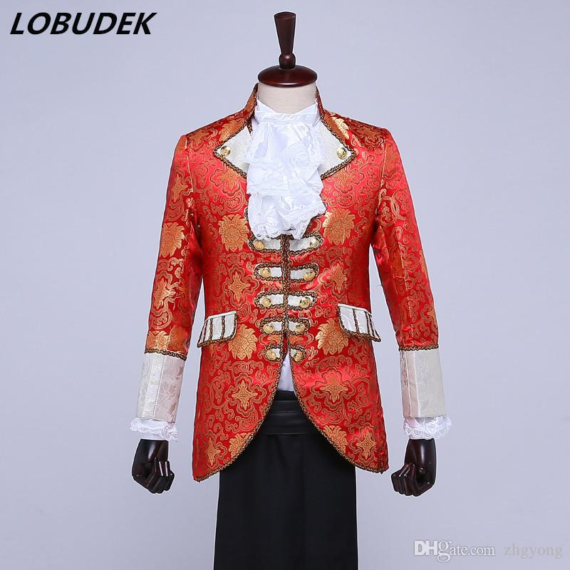 Jacket+pants+vest+tie European Style Men s Six Suits Court Dresses Red  Blazers Stage Costume Show Retro Wedding Clothing Drama Costume Suits Court  Dresses ... 8b6d2fec8d5f
