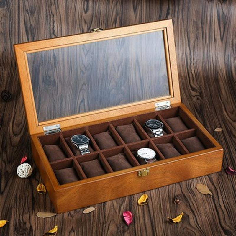 Ya Top 12 Slots Wood Watch Box Fashion Retro European Style Watch Storage Cases Wooden And Jewelry Boxes W040