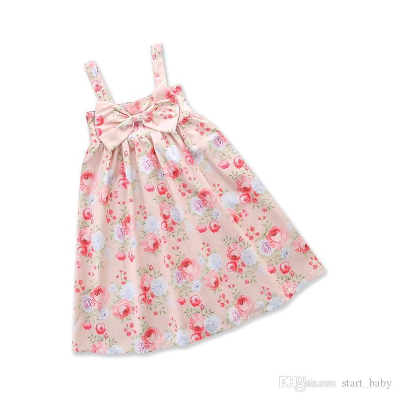Kleider Sommer Mode Baby Kleid Kind Mädchen Hosenträger Drucken Bogen Weste Kleider Baby Kleidung Mutter & Kinder