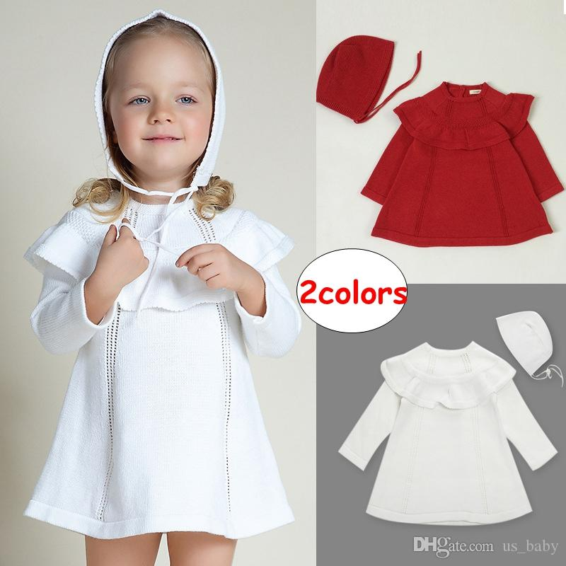 INS Girl Solid Color Knitted dress Baby long sleeve dress Toddler red white dress with cap 5size