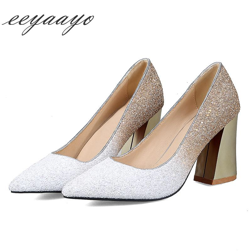 New Spring Autumn Women Pumps High Square Heel Pointed Toe Bling ... 8a08ac4cee81