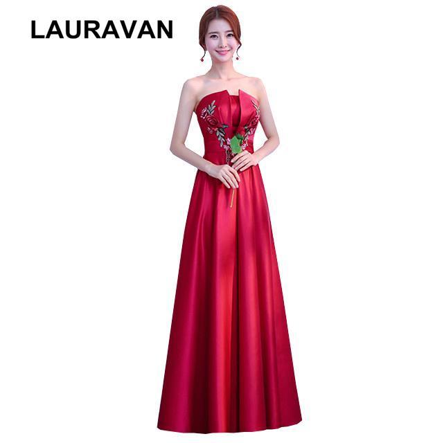compre vino rojo sin tirantes chino novias dama de satén vestidos