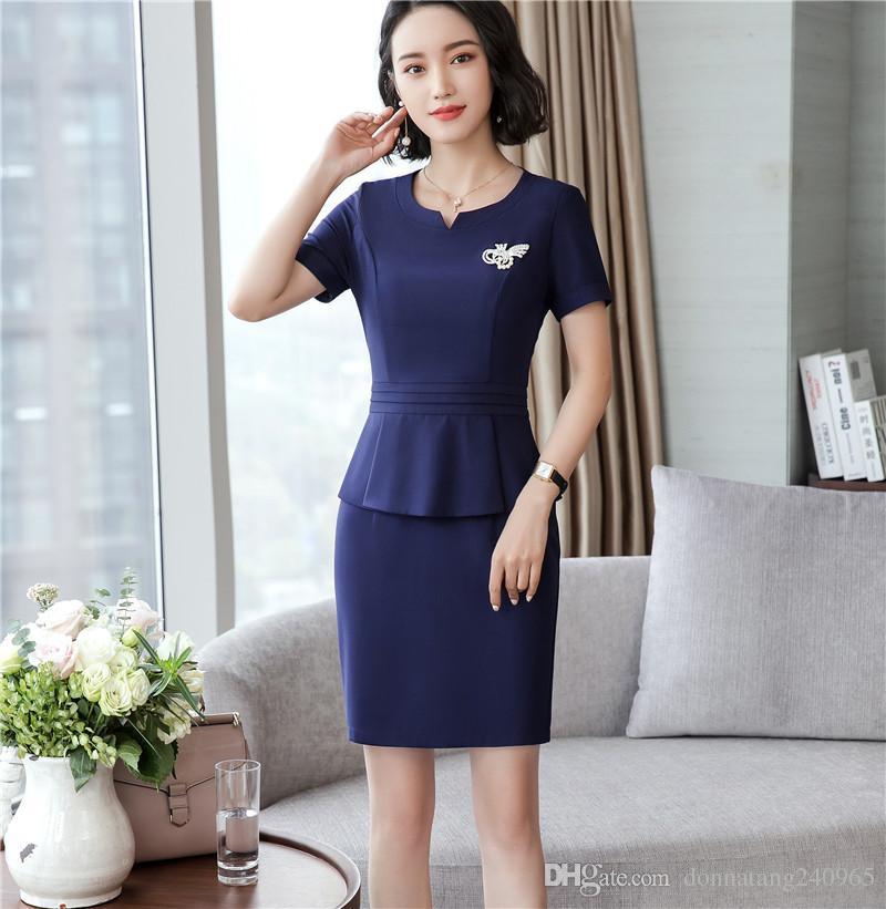a40022f7ba98d 2019 Newly Women Elegant Work Peplum Vintage Dress Stylish Office Lady Short  Sleeve Ruffle Pencil Formal Wear From Donnatang240965