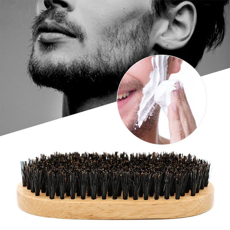 Men Boar Bristle Beard Mustache Hair Brush Comb Palm Soft Round Wood Handle  Comb Brushes AAA710