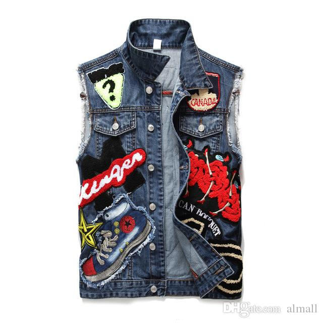 67f318507f0ca Punk Style Denim Vest Men Cotton Sleeveless Jackets Blue Casual Vests Young  Age Male With Many Pockets Plus Size 3XL Waistcoat Jean Jackets Men Leather  ...