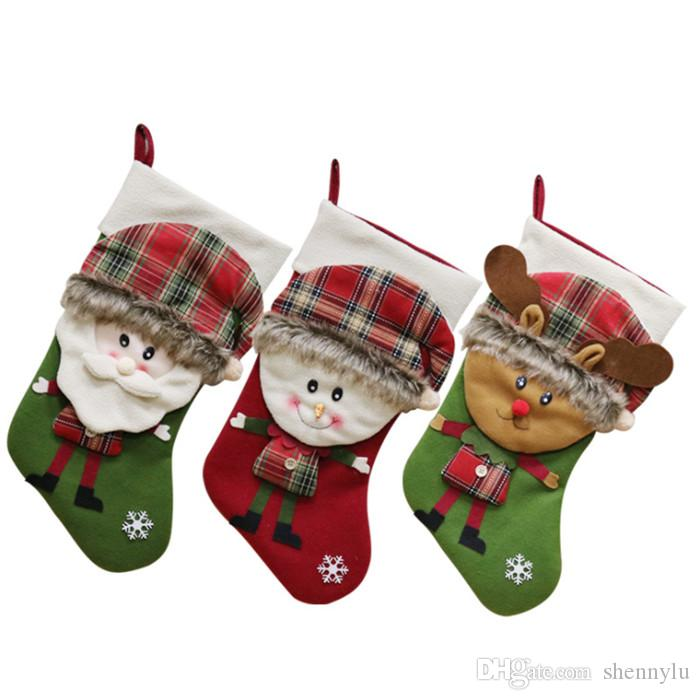 cfe4ad78a Christmas Socks Santa Claus Snowman Elk Christmas Stocking Knifes ...