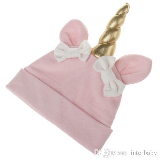 Unicorn Baby Hats Neonato Bowknot Caps Bambini Inverno Crochet Knit Hat Bambino Natale Cappelli Moda Infantile Del Fumetto Beanie Regali Di Compleanno LD29