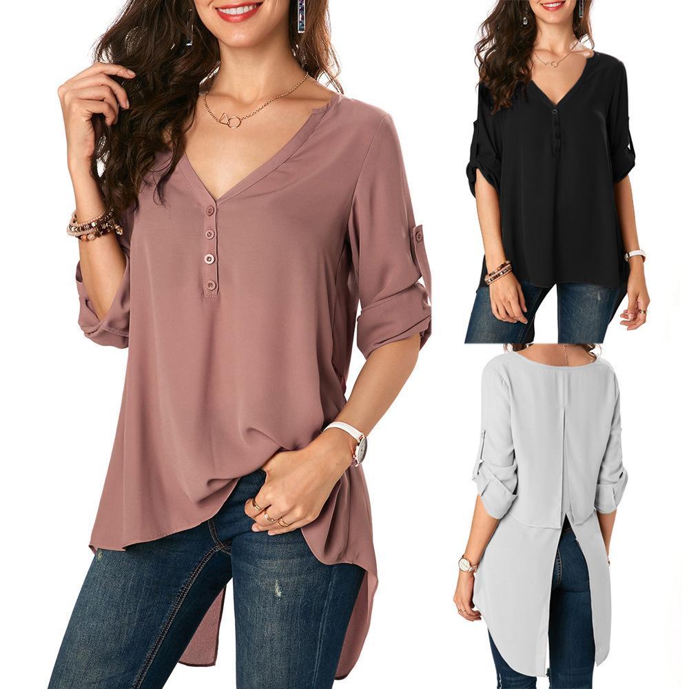 4a81b05ca18cd0 S-2XL Women V Neck Half Sleeve Long Tops T Shirt Loose Swallow ...