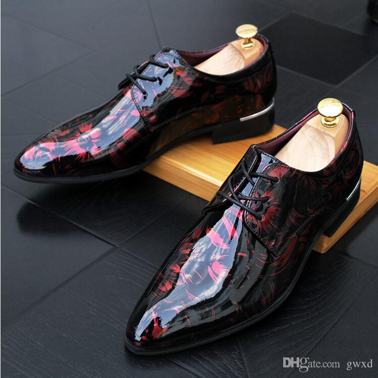 2018 New style Men Formal Shoes Pointed Toe Business Wedding Patent Leather Oxford Shoes For Men Dress Shoes G52