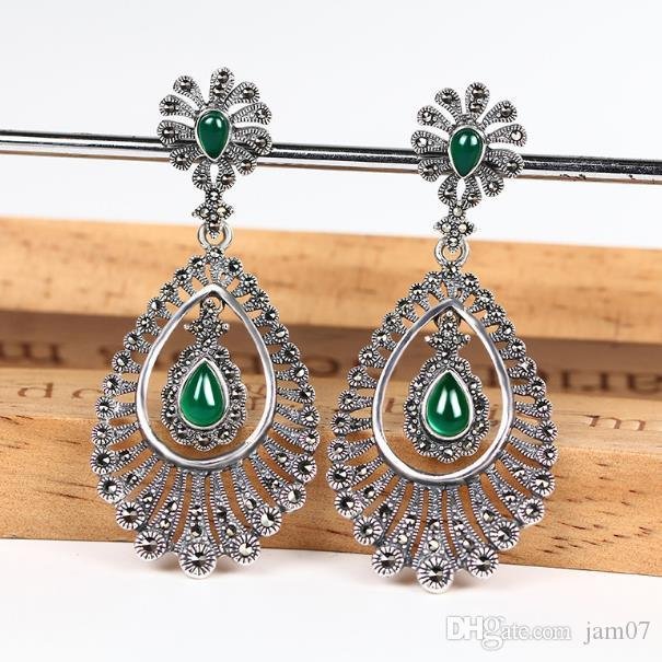 Exaggerated earrings as beautiful as peacock feather S925 sterling silver needle new high - quality silver agate earrings earrings