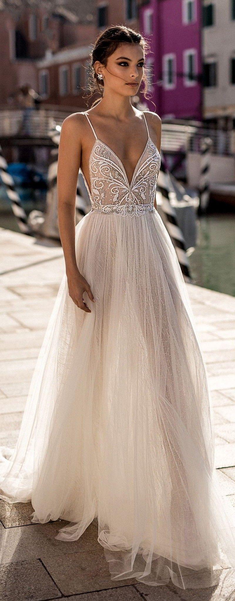 Gali Karten 2019 robes de mariée plage côté spaghetti sexy illusion Boho une ligne robes de mariée perles dos nu robes de mariée