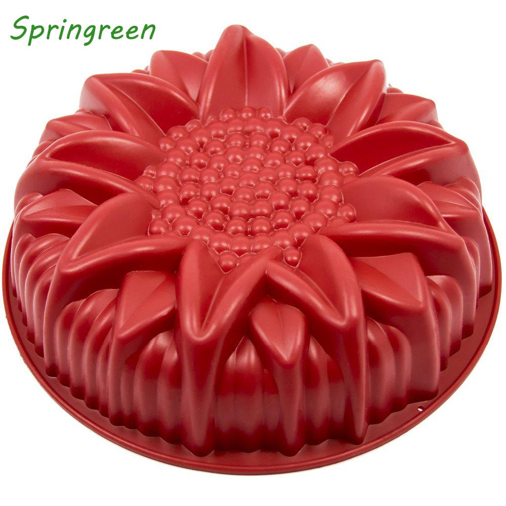 2019 Springreen 10 Inch Round Sunflower Silicone Birthday Cake Baking Pans Handmade Bread Loaf Pizza Toast Tray Molds From Bdgarden