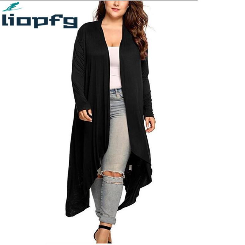 Acquista Nuova Giacca Scialle Primavera Ed Estate Donna Cardigan Jacket  Plus Size Autunno Open Front Solid Draped Lady Cappotto Large L 5XL WM595 A   49.38 ... 611e2d138ac