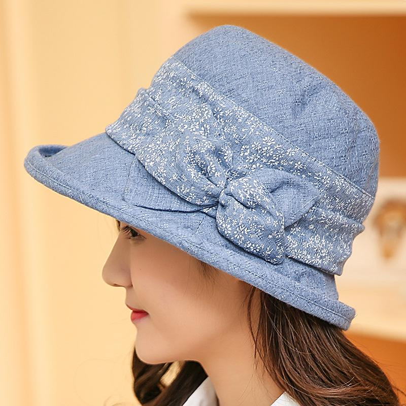 Fashion Women Bucket Hats with Bow-tie Cotton Outdoor Solid Color Sun Hat  Summer Cap Bucket Hat Bucket Hat Fashion Fashion Bucket Hat Online with ... 81c2492eed76