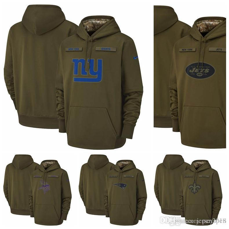 2480b0a4 Minnesota Vikings Patriots New Orleans Saints New York Giants New York Jets  Salute to Service Sideline Therma Performance Pullover Hoodie