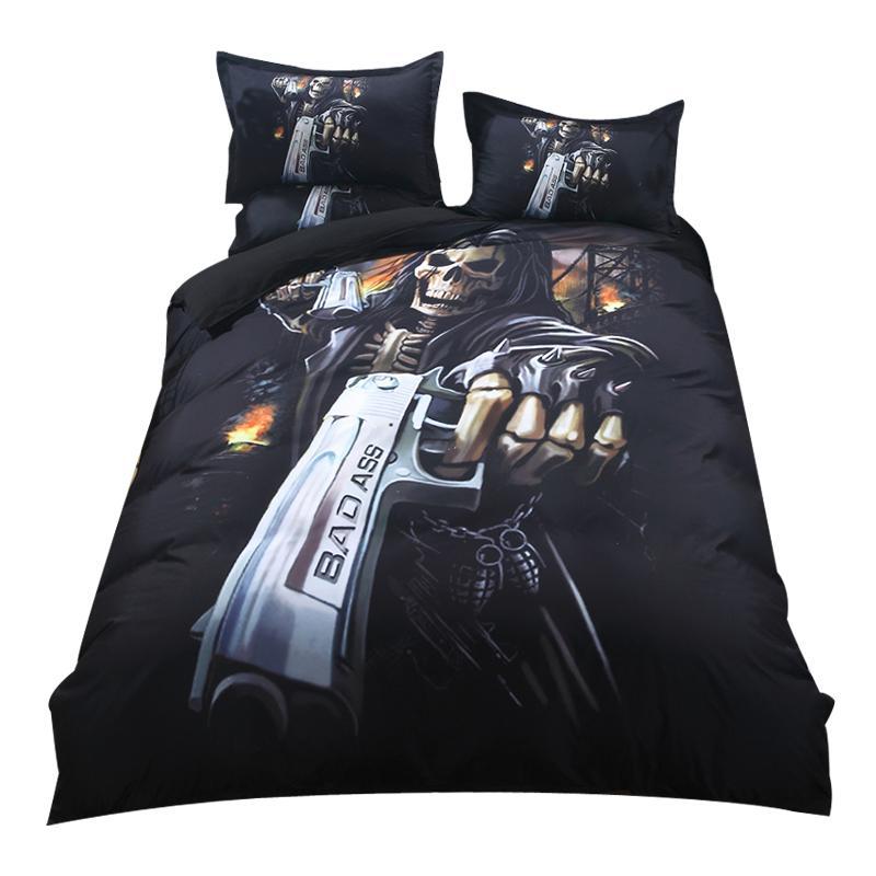 2018 Gothic Gun Schädel Druck Bettwäsche Set Polyester Mikrofaser Bettbezug Set Twin Queen King 3pc Kissenbezüge Bettwäsche