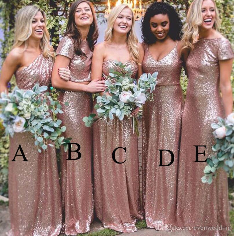 Bling Sparkly Da Dama de Honra Vestidos 2019 Rose Gold Lantejoulas Sereia Duas Peças Vestidos de Baile Country Beach Evening Party Dresses