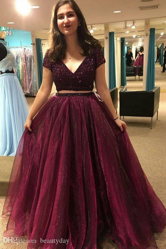 Burgundy Prom Dresses 2019 Formal Evening Party Pageant Gowns Beads Crystals Deep V Neck African Dubai Arbic Cap Sleeve two Pieces Cheap