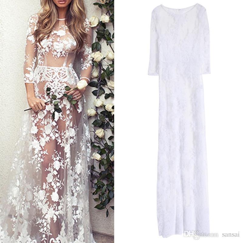 cfe23f5870e6e Women Sexy Long Sleeve Round Neck White See-Through Lace Maxi Dress Gown  Elegant