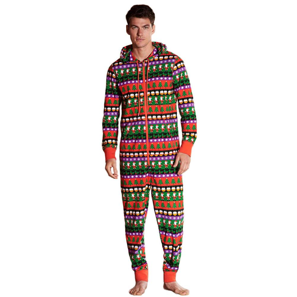 Mens Christmas Pajamas.New Multi Colors Men Christmas Hooded Pajamas Sleepwear Nightwear Jumpsuit Luxury Designer