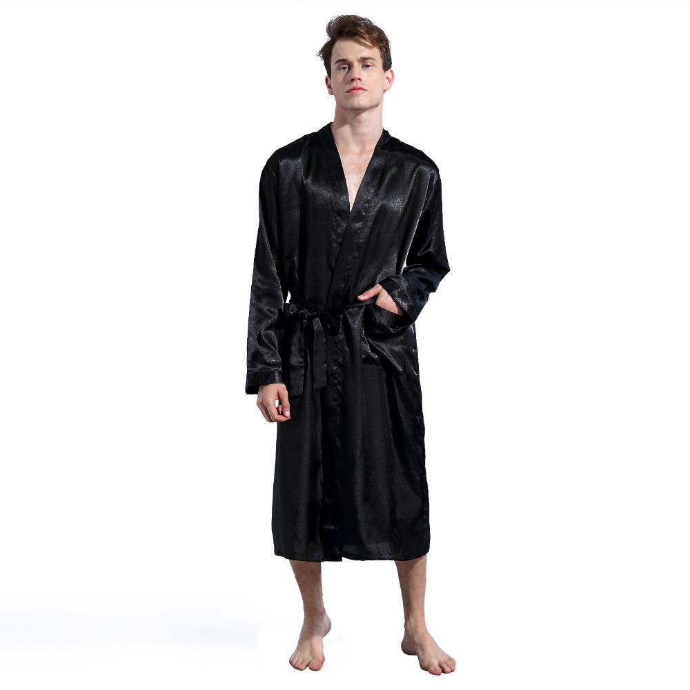 2019 LANBAOSI 2018 New Summer Men Satin Silk Robe Long Sleeve Pajamas Shawl  Collar Gown Sleepwear Men Pajamas From Roberr 22c5c882d