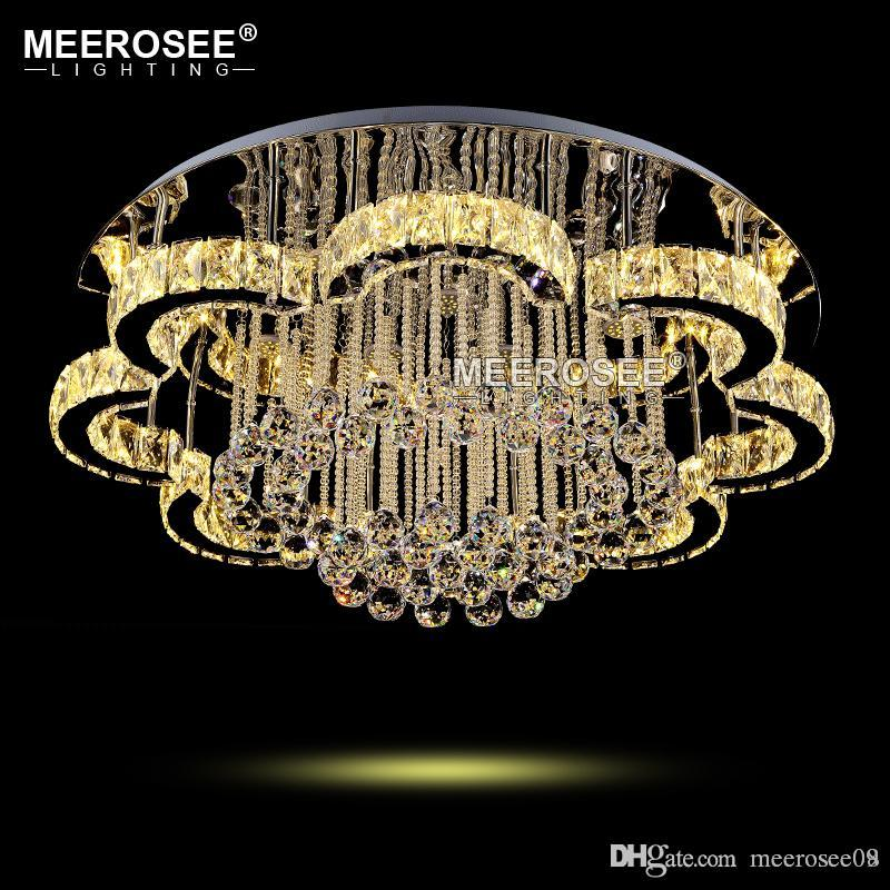 New Led Modern Chandelier Crystal Lamps Round Flower Light Fixture Re Living Room Lampadario Lights For Hotel Ceiling Fan