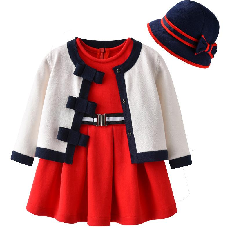 2019 Baby Girl Clothing Set Red Dress+Knitted Cardigan Sweater+Hat Kids  Princess Set Baby Birthday Party Dress Outfit From Benedicty 5d13e231bf3